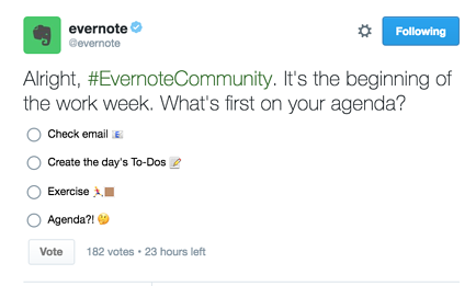 Evernote Twitter Poll